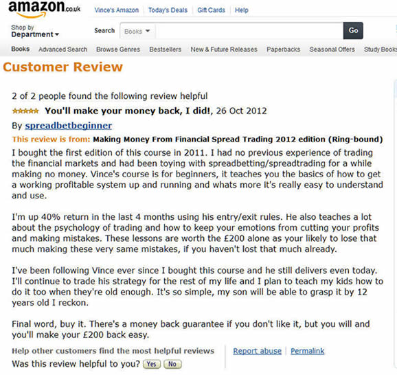 amazon review vince stanzione