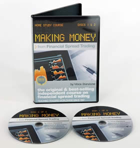 Making Money from Financial Spread Trading, Vince Stanzione, Best selling course, learn to trade DVDs, Best selling financial spread betting course, spread trading handbook